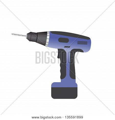 dark blue on a white background drill with battery