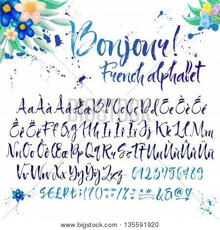 Calligraphic french alphabet. Title is Good morning. Floral decorations and inky splatters on white background. Diacritic letters also added in set.