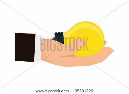 Hand represented by specific gesture with bulb icon over isolated and flat background
