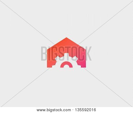 Gear house logo design. Home made minimal vector logotype