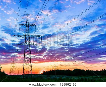 Background of the high-voltage tower in the sunset.