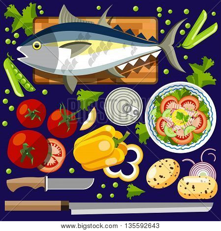Salad with salmon. Vector illustration of a flat design.Illustration for online stores. Illustration for the booklet. Illustration for flyers. Illustration for presentations. Illustration for advertising.