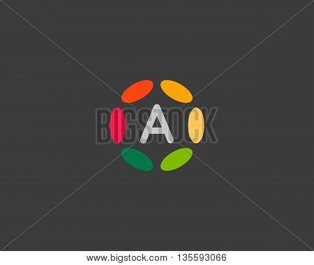 Color letter a logo icon vector design. Hub frame logotype.