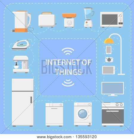 IOT. Internet of Things. Innovative technology of kitchen equipment and digital products. Vector illustration
