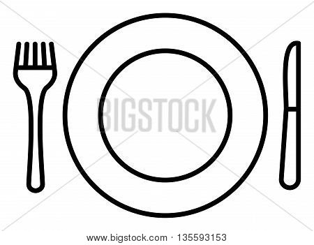Simple icon with plate knife and fork diner icon breakfest icon supper icon