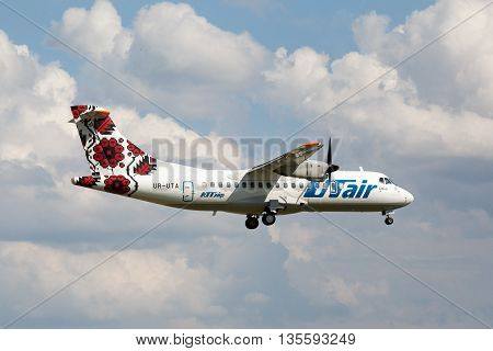 VNUKOVO, MOSCOW REGION, RUSSIA - 17 June , 2016: Airplanes at Vnukovo international airport. Utair Airlines Atr 72 landing to runway
