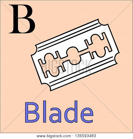 B letter. Object capital alphabet. Colorful font. Uppercase. Vector illustration. Worksheet, Exercises for kids, Coloring book. Illustration of alphabet letters with beautiful clip arts blade razor