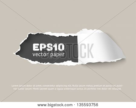 Craft vector paper hole with space for text, ripped edges, dark copyspace. Torn paper for scrapbooking. Torn paper template for sale promo and advertising.