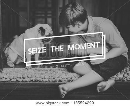 Animal Best friends Seize Moment Concept