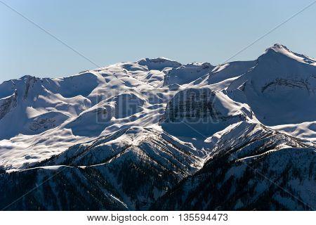 Mountains near the ski resort of Rosa Khutor in Krasnaya Polyana. Sochi, Russia
