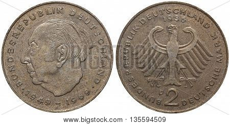 Two German Mark Coin Formerly Used In Germany