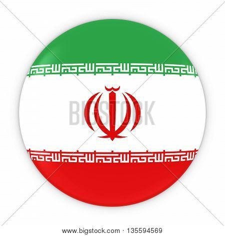 Iranian Flag Button - Flag Of Iran Badge 3D Illustration