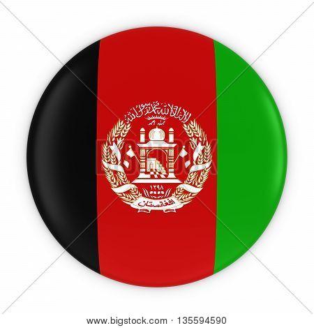 Afghan Flag Button - Flag Of Afghanistan Badge 3D Illustration