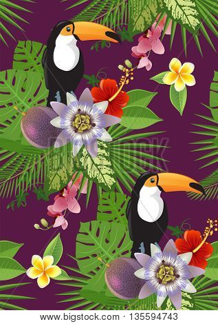toucan and tropical plants and flowers seamless pattern