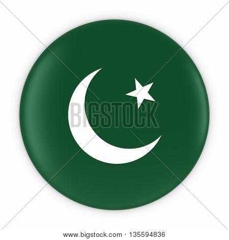 Pakistani Flag Button - Flag Of Pakistan Badge 3D Illustration