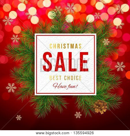 Christmas sale banner on red bokeh background