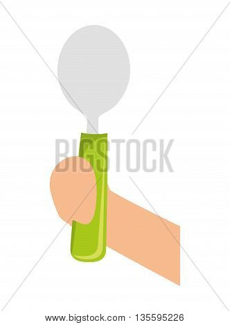 Organic and healthy food represented by spoon cutlery over isolated and flat background