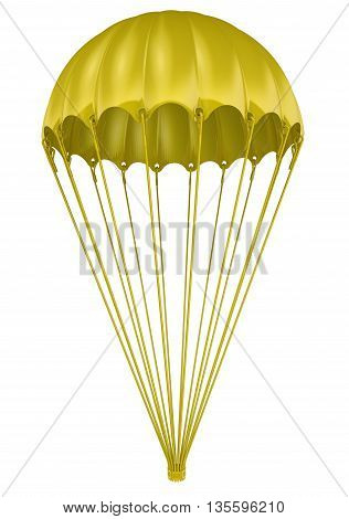 Golden parachute as a symbol of the compensation of executives of the company. Isolated. 3D Illustration