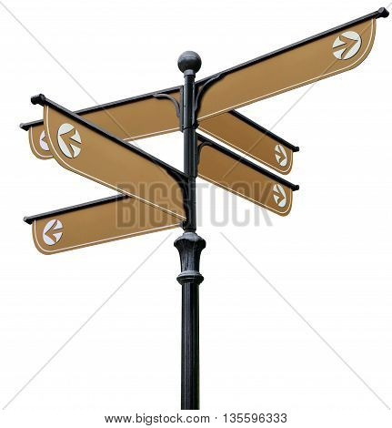 Brown direction signs on the black post on a white background
