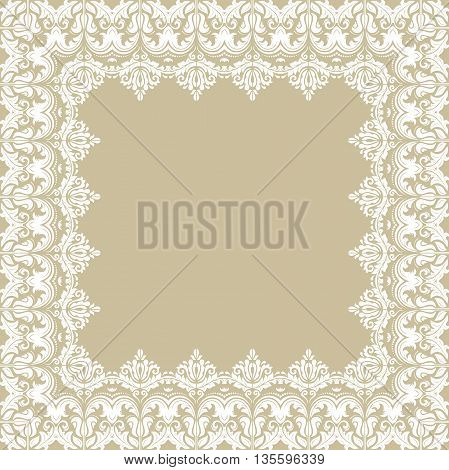 Classic vector square frame with arabesques and orient elements. Abstract fine ornament with place for text. Golden and white pattern