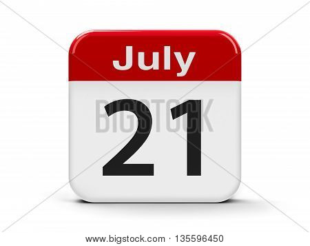 Calendar web button - The Twenty First of July - Belgian National Day three-dimensional rendering 3D illustration