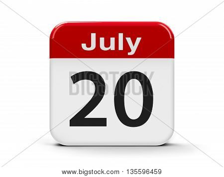 Calendar web button - The Twentieth of July - International Chess Day and International Cake Day three-dimensional rendering 3D illustration