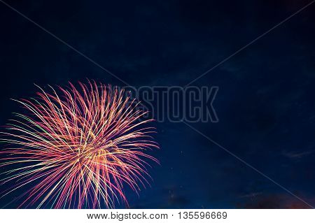 Brightly Colorful Fireworks And Salute In The Night