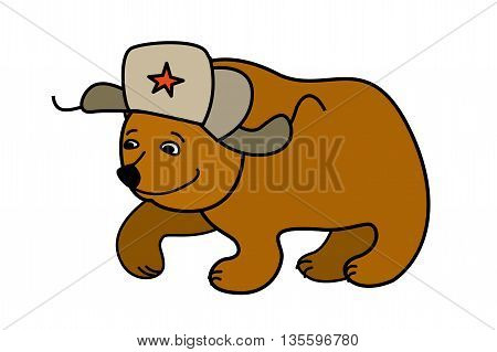 Cartoon Bear wearing a Russian hat earflaps, isolated on white background, vector