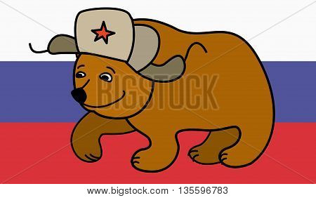 Cartoon Bear wearing a Russian hat earflaps, russian flag on background, vector