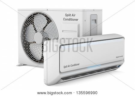 modern air conditioner system 3D rendering on white background