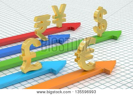 money concept global currencies with arrows. 3D rendering