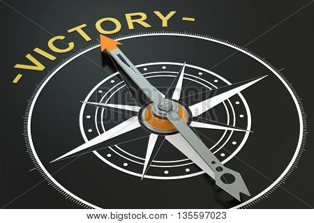 Victory compass concept 3D rendering on black background