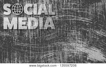 Scratched background and the transparent words social media