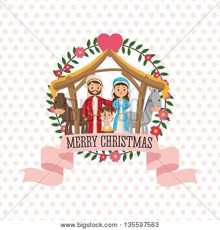 Manger represented by Holy family icon over seal stamp. pointed  background. Merry Christmas design.
