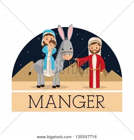 Manger represented by Holy family icon over isolated and flat background. Merry Christmas design.