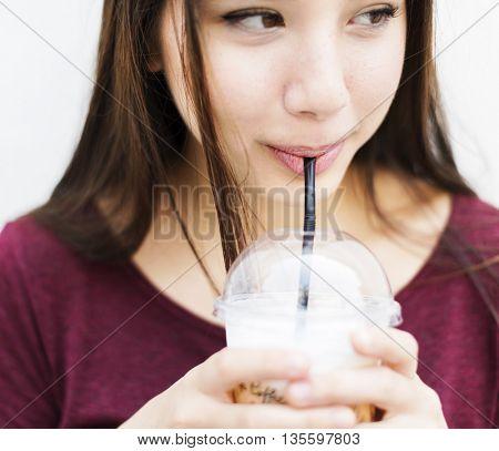 Woman Drinking Beverage Milk Tea Drinks Waiting Concept