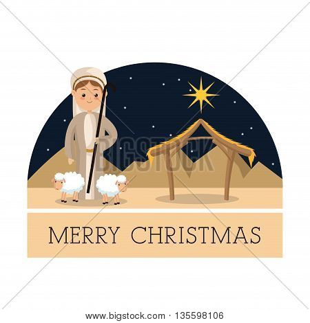 Manger represented by Shepherd icon over isolated and flat background. Merry Christmas design.