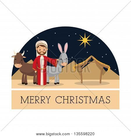 Manger represented by Joseph and farm animals  icon over isolated and flat background. Merry Christmas design.
