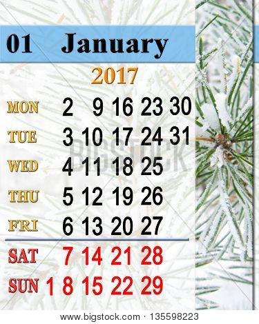 calendar for January 2017 with image of snowy pines. Reminder for office life