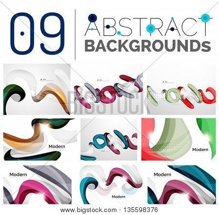 Set of smooth elegant identity waves. Presentation banner wallpaper or identity business card message design template set