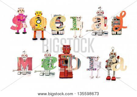 the word  social media,  with retro robot toys