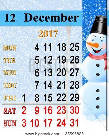 beautiful calendar for December 2017 with vertical ribbon of fabulous snowman