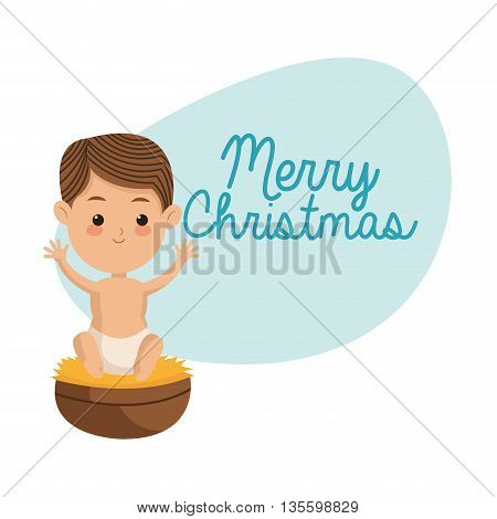 Manger represented by baby jesus icon over isolated and flat background. Merry Christmas design.