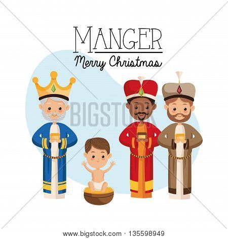 Manger represented by Three wise men icon over night background. Merry Christmas design.