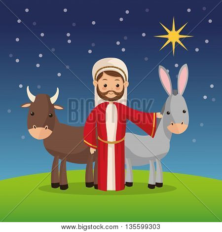 Manger represented by Joseph icon over night background. Merry Christmas design.