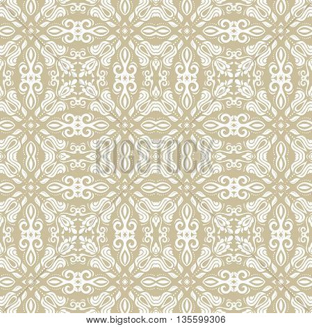 Oriental vector classic pattern. Seamless abstract background with repeating elements. Golden and white pattern