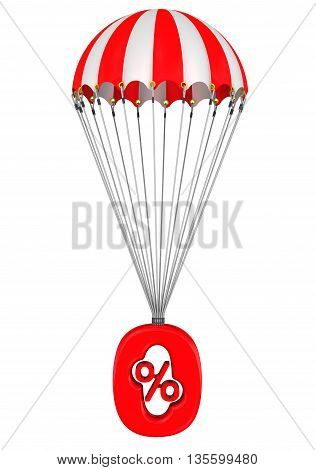Symbol of zero percent on a parachute. The red zero percent sign is falling down on parachute. Isolated. 3D Illustration