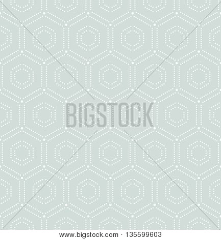 Geometric repeating vector ornament with hexagonal dotted elements. Seamless abstract modern pattern. Light blue and white pattern