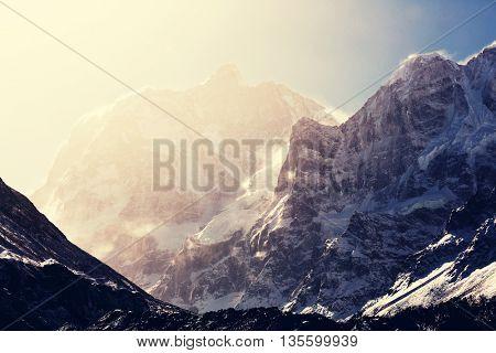 Scenic view of Jannu peak, Kanchenjunga Region, Himalayas, Nepal.