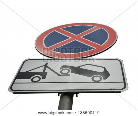 sign no Parking tow truck and works